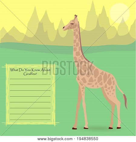 A Giraffe Against Symplistic Nature Background and Poster with Space for Interesting Facts about this Animal. Educational Card for Childrens Schooling. Vector EPS 10