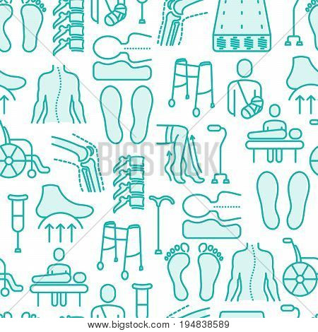 Orthopedic and trauma rehabilitation seamless pattern with thin line icons for web page or banner of clinics and medical centers. Vector illustration.