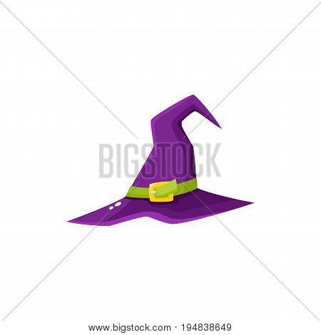 Purple witch, wizrd pointed hat, Halloween decoration element, cartoon vector illustration isolated on white background. Cartoon witch hat, Halloween object, decoration element