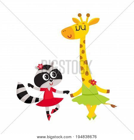 Cute little giraffe and raccoon, puppy and kitten characters dancing ballet together, cartoon vector illustration isolated on white background. Little raccoon and giraffe ballet dancers, ballerinas