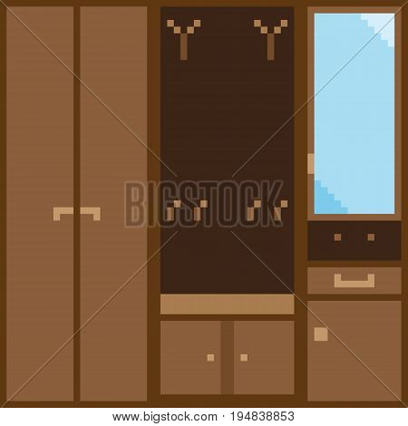 A set of brown modular furniture for the hallway in pixel style. Each module can be used for illustration separately