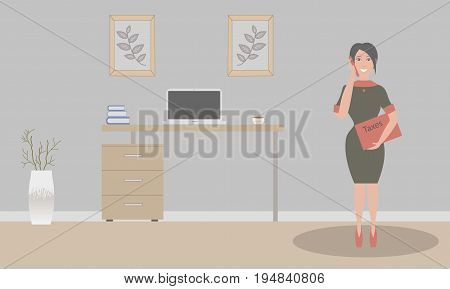 Office in loft style.Vector illustration.Table,decorative branches in a beautiful vase floor, paintings.Cup with coffee, laptop.A sexy businesswoman in a black dress with a red folder Taxes.Red shoes