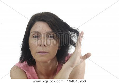 Portait Of A Middle Aged Woman On White Background