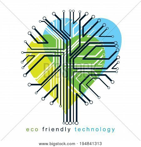 Vector illustration of futuristic tree in shape of heart technology and science conceptual design. Ecology conservation concept.