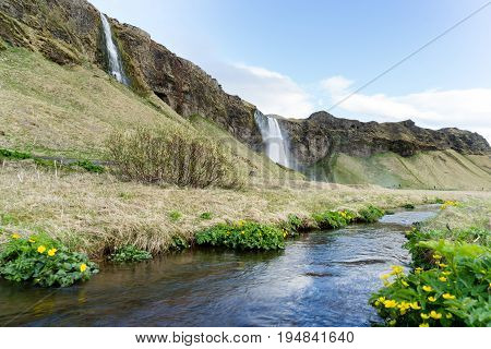 Seljalandsfoss is one of the best known waterfalls in Iceland. Seljalandsfoss is located in the South Region in Iceland right by Route 1