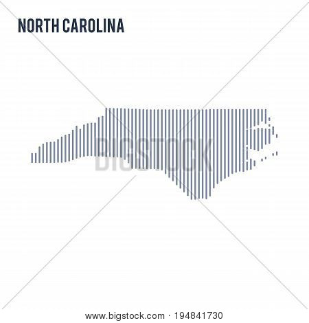 Vector Abstract Hatched Map Of State Of North Carolina With Vertical Lines Isolated On A White Backg