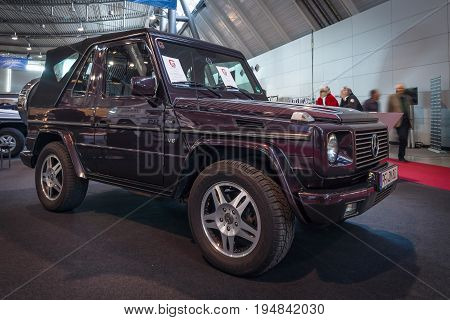 STUTTGART GERMANY - MARCH 18 2016: Mid-size luxury SUV Mercedes-Benz G500 Convertible 2001. Europe's greatest classic car exhibition