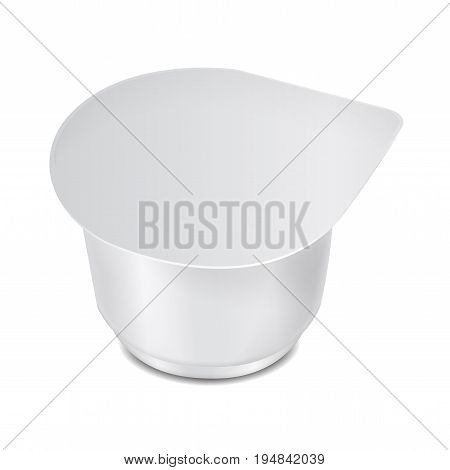 Round white plastic container with plastic wrap and foil cover for dairy products, yogurt, cream, dessert, jam. Vector packaging mockup template for your design
