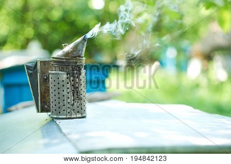 Shot of a metal bee smoker smoking in apiary outdoors on a sunny warm day copyspace nature tool equipment beekeeping apiculture bee house honey production concept.