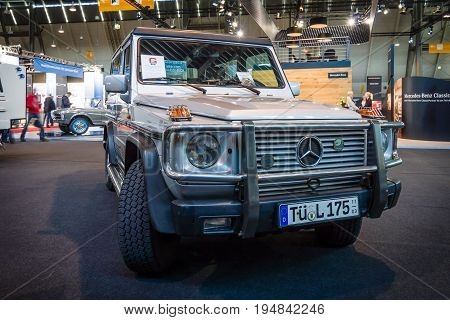 STUTTGART GERMANY - MARCH 18 2016: Mid-size luxury SUV Mercedes-Benz 300 GD 1990. Europe's greatest classic car exhibition