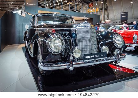 STUTTGART GERMANY - MARCH 18 2016: Vintage car Mercedes-Benz 300 Sc Coupe (W188 II) 1956. Europe's greatest classic car exhibition
