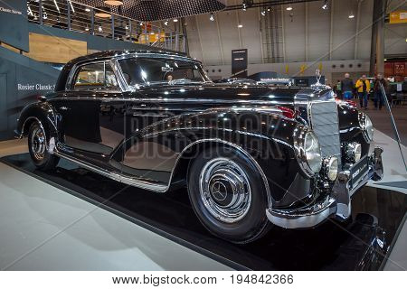 STUTTGART GERMANY - MARCH 18 2016: Vintage car Mercedes-Benz 300 Sc Coupe (W188 II) 1956. Black and white. Europe's greatest classic car exhibition