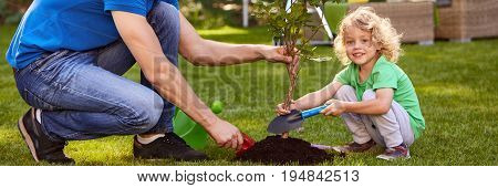 Smiling boy and man planting a little tree with shovel in the garden