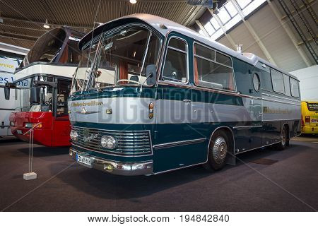 STUTTGART GERMANY - MARCH 18 2016: A bus with an accommodation module NEOPLAN Sonderfahrzeug 1965. Europe's greatest classic car exhibition