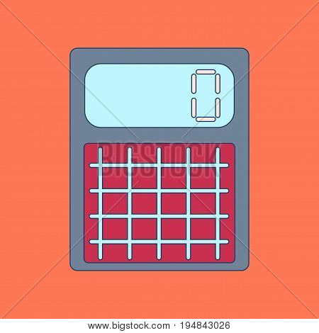 flat icon with thin lines electronic calculator