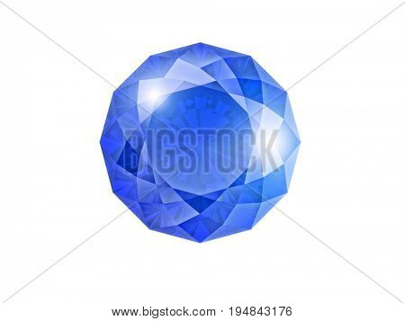 shappire gem isolated on white 3d rendering image
