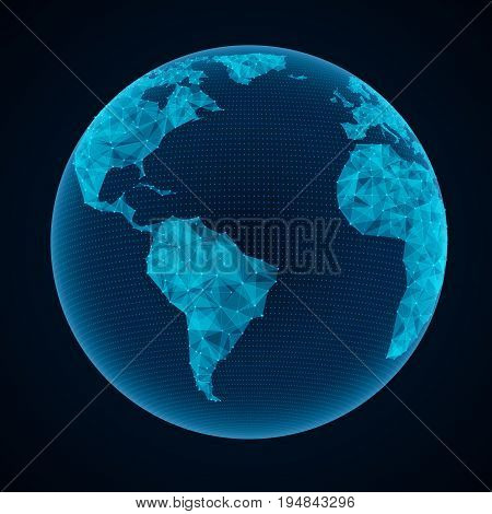 Abstract world map points connected with lines illustration of global network connection and international business technology background. EPS 10 contains transparency layered vector file.