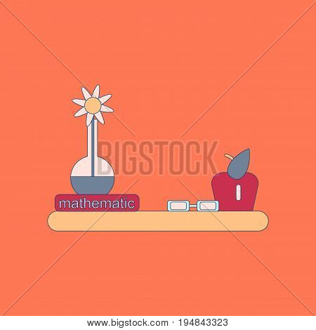 flat icon with thin lines math book table