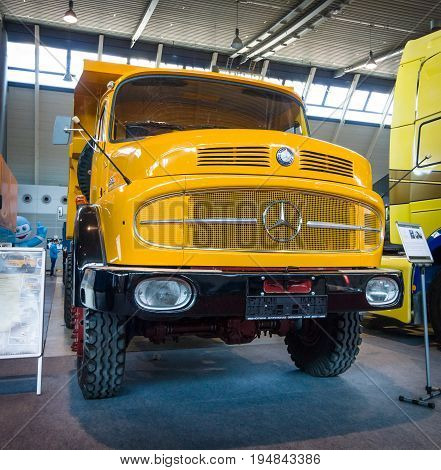 STUTTGART GERMANY - MARCH 18 2016: Heavy truck Mercedes-Benz LAK 2624 6X6 Mulde 1974. Europe's greatest classic car exhibition