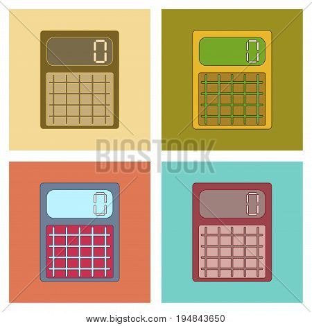 assembly of flat icons electronic calculator office