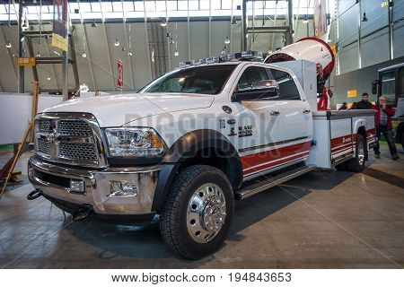 STUTTGART GERMANY - MARCH 18 2016: Turbo fire extinguisher Magirus AirCore M25H on Dodge Ram 4500. Europe's greatest classic car exhibition