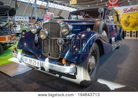 STUTTGART GERMANY - MARCH 18 2016: Vintage car Maybach SW38 1938 during the time of Nazi Germany belonged to Lieutenant General SS George Ebrecht. Europe's greatest classic car exhibition