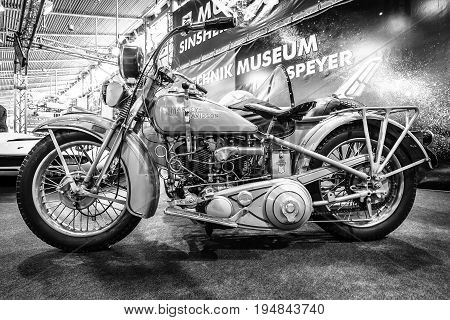 STUTTGART GERMANY - MARCH 18 2016: Motorcycle Harley-Davidson V/VI Gespann 1931. Black and white. Europe's greatest classic car exhibition