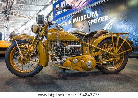 STUTTGART GERMANY - MARCH 18 2016: Motorcycle Harley-Davidson V/VI Gespann 1931. Europe's greatest classic car exhibition
