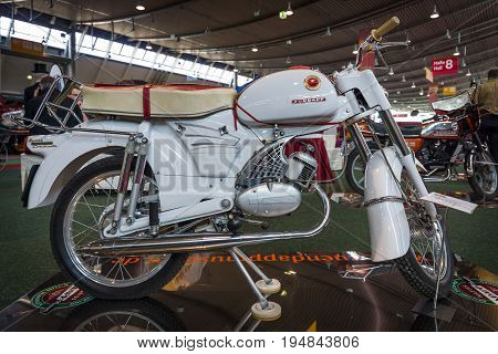 STUTTGART GERMANY - MARCH 18 2016: Motorcycle Zuendapp Sport Combinette (Typ 515-004) 1964. Europe's greatest classic car exhibition