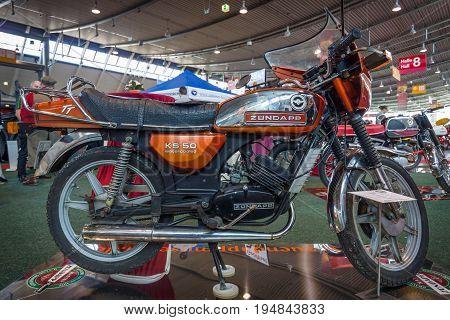 STUTTGART GERMANY - MARCH 18 2016: Motorcycle Zuendapp KS 50 WC TT 1980. Europe's greatest classic car exhibition