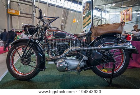 STUTTGART GERMANY - MARCH 18 2016: Motorcycle Horex SB 35 Regina 1949. Europe's greatest classic car exhibition