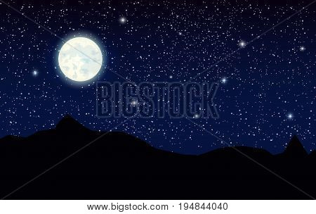 Space landscape with silhouette mountains and full moon. Sky with stars. Vector illustration