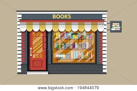 Book shop or store building. Library book shelf. Bookcase with different books. Vector illustration in flat style