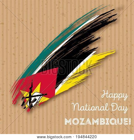 Mozambique Independence Day Patriotic Design. Expressive Brush Stroke In National Flag Colors On Kra