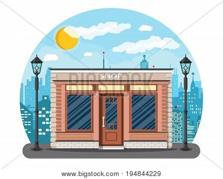 Generic shop exterior on the city street. Wooden and bricks material. Commercial, property. Cityscape, buildings, sun, clouds. Vector illustration in flat style