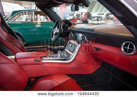 STUTTGART GERMANY - MARCH 18 2016: Cabin of supercar Mercedes-Benz SLS AMG 63 Coupe 2010. Europe's greatest classic car exhibition