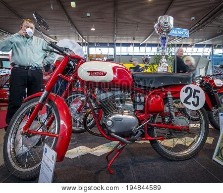 STUTTGART GERMANY - MARCH 18 2016: Sport motorcycle Laverda 100 Sport Lusso 1958. Europe's greatest classic car exhibition