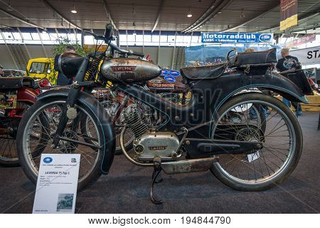 STUTTGART GERMANY - MARCH 18 2016: Serial motorcycle Laverda 75 Typ 1 1951. Europe's greatest classic car exhibition