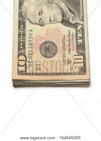 A Stack of Ten Dollar Bills on a White Background