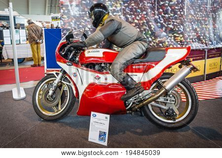 STUTTGART GERMANY - MARCH 18 2016: Sport motorcycle Laverda 1000 Cico 1975. Europe's greatest classic car exhibition