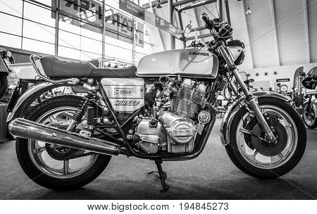 STUTTGART GERMANY - MARCH 18 2016: The serial model motorcycle Laverda 1200 Mirage 1979. Black and white. Europe's greatest classic car exhibition