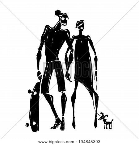 Skateboard. Silhouettes of woman and man. Couple with a dog. Hand drawn Vector illustration.