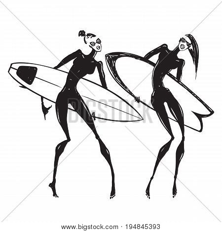 Silhouettes of surf girls. Hand drawn Vector illustration.