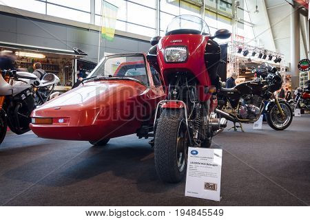 STUTTGART GERMANY - MARCH 18 2016: Motorcycle Laverda RGS with a sidecar Carell-Shoo 1983. Europe's greatest classic car exhibition