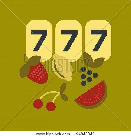 flat icon on stylish background poker jackpot Lucky seven