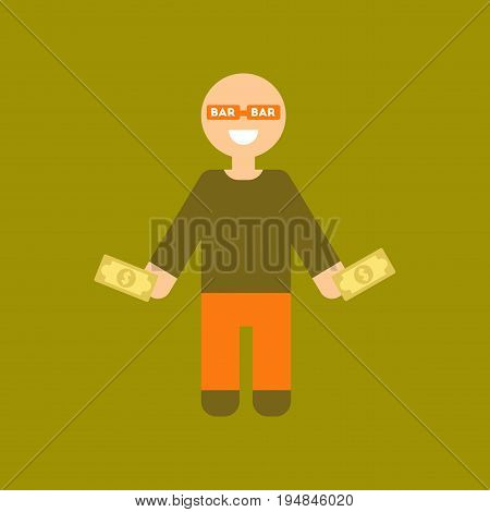 flat icon on stylish background poker man player
