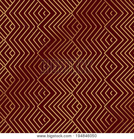 Seamless Golden Chinese Background Oriental Geometry Check Sawtooth Cross Line