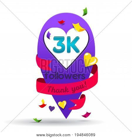 Thank you 3000 followers network card. Vector design template for friends, subscribers and followers. Banner for Social Networks. Card for user who celebrates a big number of followers.