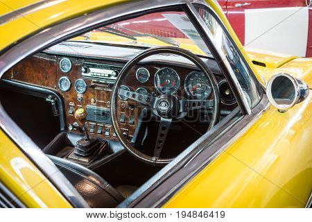 STUTTGART GERMANY - MARCH 18 2016: Cabin of sports car Lotus Elan Plus 2 RHD 1971. Europe's greatest classic car exhibition