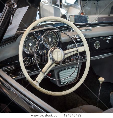 STUTTGART GERMANY - MARCH 18 2016: Cabin of grand tourer car Mercedes-Benz 190 SL (W121) 1957. Europe's greatest classic car exhibition